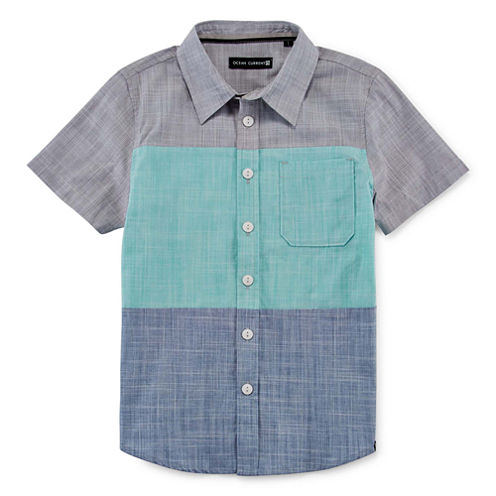 Short-Sleeve Colorblock Button Down Shirt - Preschool Boys 4-7