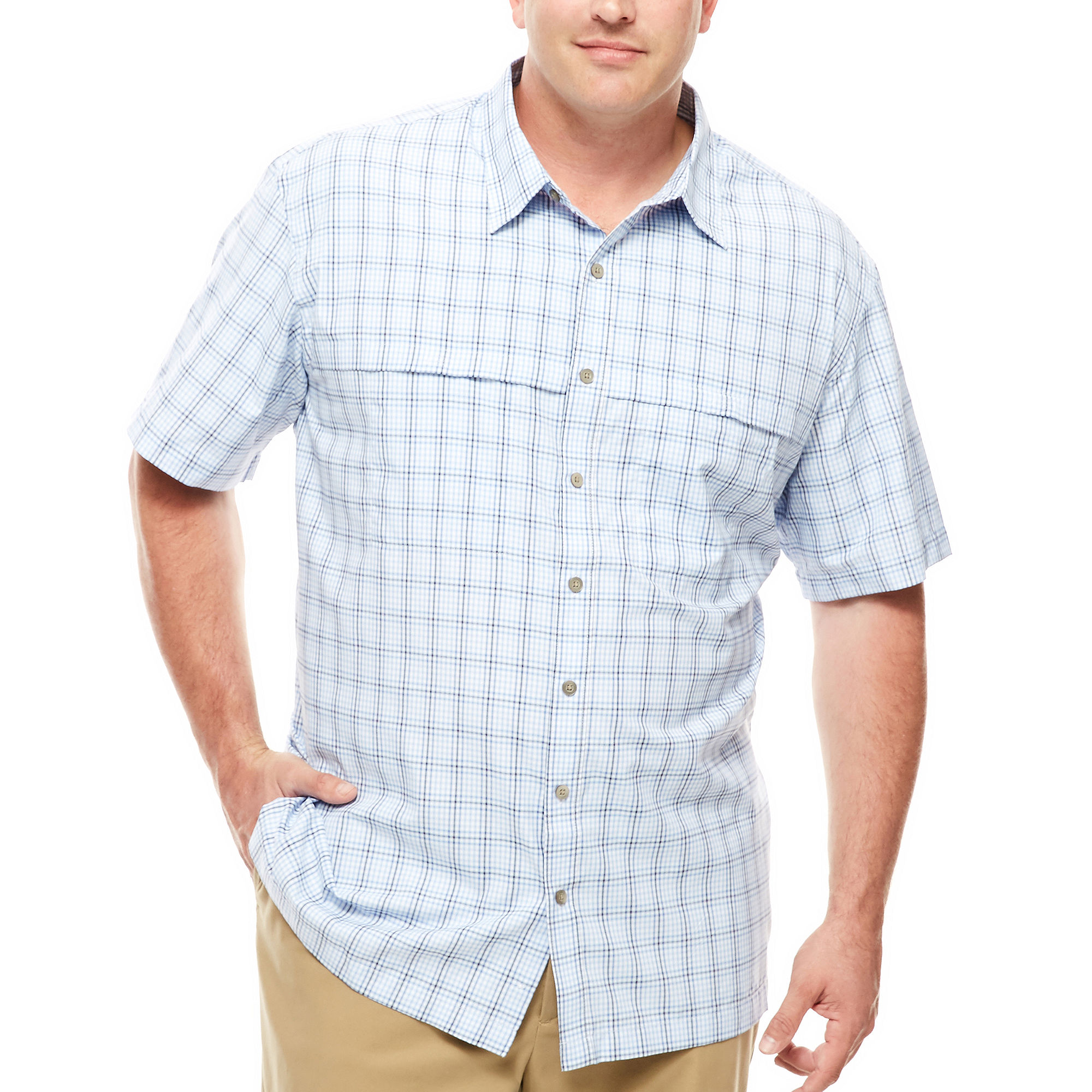 Upc 013282918475 van heusen short sleeve traveler shirt for Van heusen plaid shirts