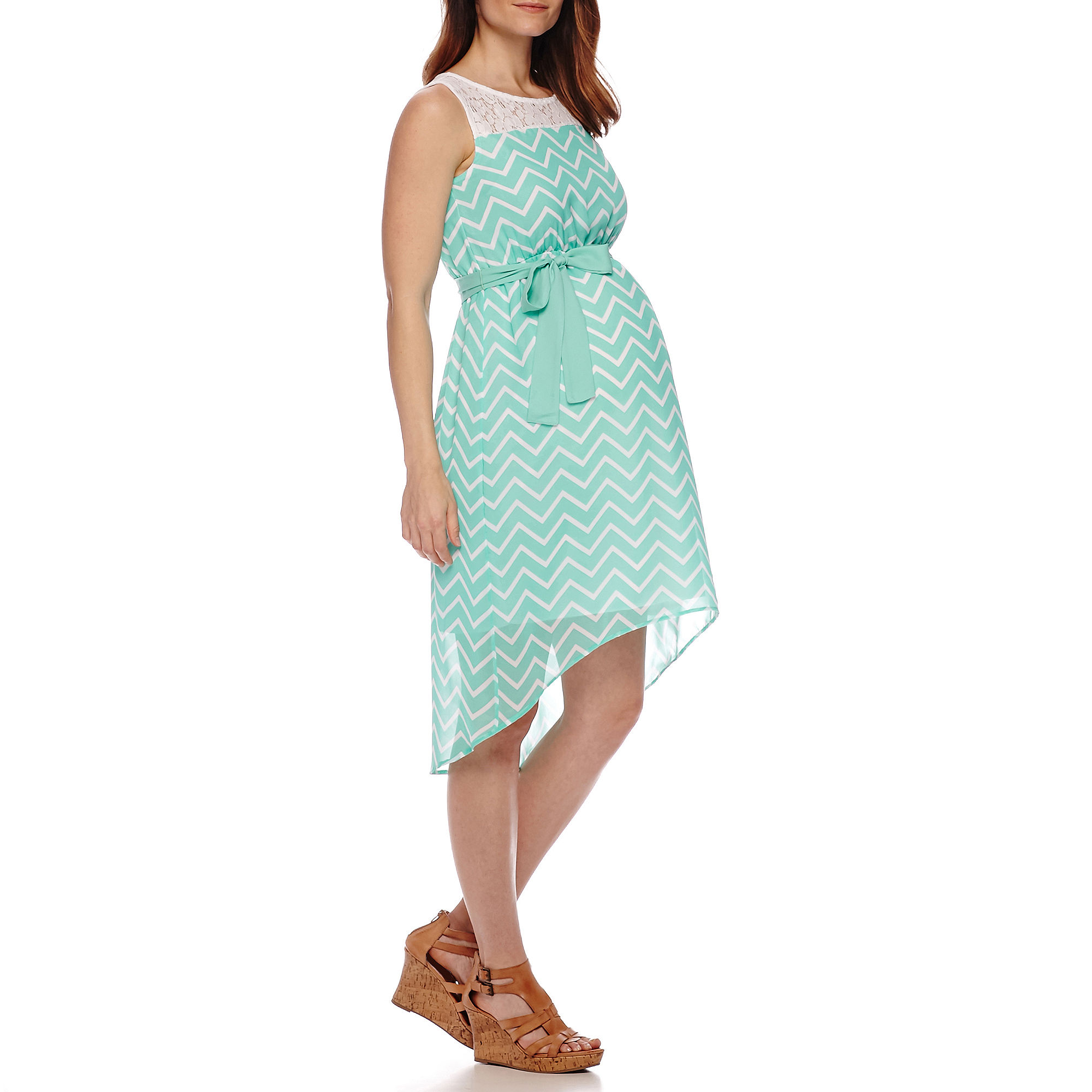Sleeveless Lace Yoke Print Belted Maternity Dress plus size,  plus size fashion plus size appare