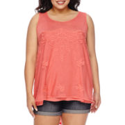 Star Scene Crochet Inset Tank Top - Plus