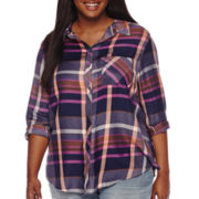 Arizona Long-Sleeve Boyfriend Plaid Shirt - Plus