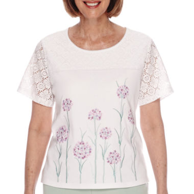 jcpenney.com | Alfred Dunner® Savannah Short-Sleeve Floral-Border Tee - Petite