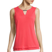 Liz Claiborne® Metal Bar Layered Knit Tank Top