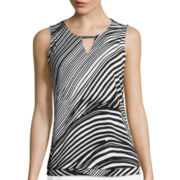 Liz Claiborne® Metal Bar Layered Knit Tank Top - Tall