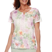 Alfred Dunner® Savannah Short-Sleeve Floral Lace Knit Top