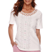 Alfred Dunner® Savannah Short-Sleeve Center Embroidery Top