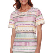 Alfred Dunner® Savannah Short-Sleeve Stripe Print Top