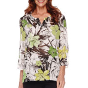 Alfred Dunner® Sao Paolo 3/4-Sleeve Tropical Print Tunic