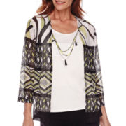 Alfred Dunner® Sao Paolo 3/4-Sleeve Layered Top