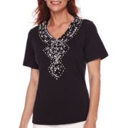 Alfred Dunner® Sao Paolo Short-Sleeve Embroidered Top