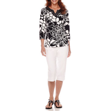 jcpenney.com | Alfred Dunner® Sao Paolo 3/4 Sleeve Floral Print Top or Capris