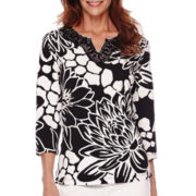 Alfred Dunner® Sao Paolo 3/4-Sleeve Floral Print Top