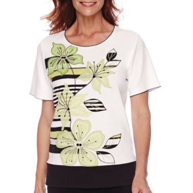 jcpenney.com | Alfred Dunner® Sao Paolo Short-Sleeve Appliqué Top
