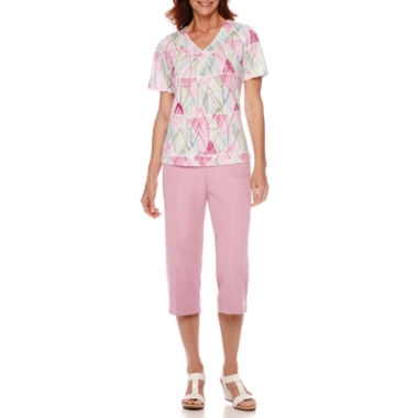 jcpenney.com | Alfred Dunner® Savannah Short-Sleeve Watercolor Diamond Print Top or Capris