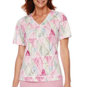 Alfred Dunner® Savannah Short-Sleeve Watercolor Diamond Print Top