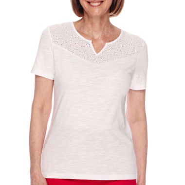jcpenney.com | Sag Harbor® American Dream Short-Sleeve Eyelet Trim Top