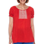 Sag Harbor® American Dream Short-Sleeve Embroidered-Yoke Top