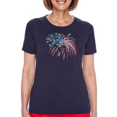 jcpenney.com | Sag Harbor® American Dream Short-Sleeve Embroidered Fireworks Top
