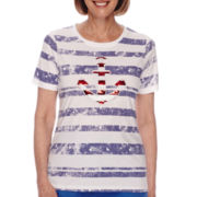 Sag Harbor® American Dream Short-Sleeve Sequin Top