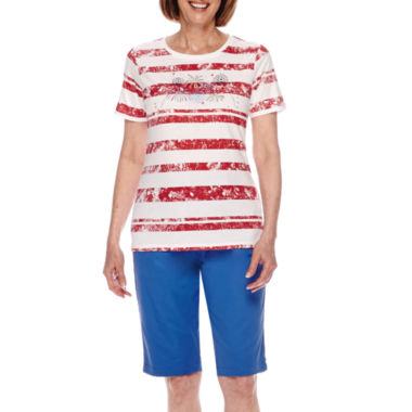 jcpenney.com | Sag Harbor® American Dream Short-Sleeve Fireworks Embroidery Top or Shorts