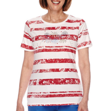 jcpenney.com | Sag Harbor® American Dream Short-Sleeve Fireworks Embroidery Top