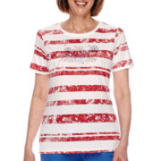 Sag Harbor® American Dream Short-Sleeve Fireworks Embroidery Top
