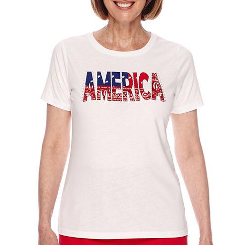 Sag Harbor® American Dream Short-Sleeve America Printed Top