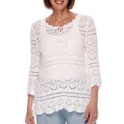 Sag Harbor® Baby Blues 3/4-Sleeve Crochet Cotton Sweater