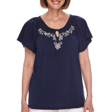 jcpenney.com | Sag Harbor® Baby Blues Short-Sleeve Embroidery Top