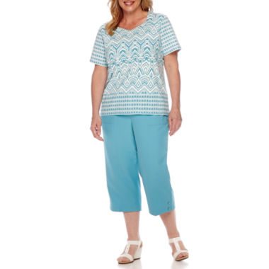 jcpenney.com | Alfred Dunner® Cozumel Short-Sleeve Monotone Tee or Pull-On Capris - Plus