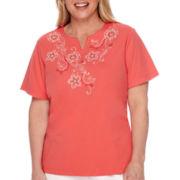 Alfred Dunner® Cozumel Short-Sleeve Floral Yoke Tee