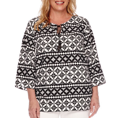 jcpenney.com | Alfred Dunner® Sao Paolo 3/4-Sleeve Tie-Front Geometric Blouse - Plus