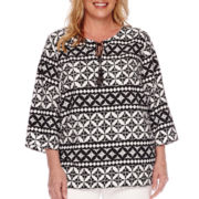 Alfred Dunner® Sao Paolo 3/4-Sleeve Tie-Front Geometric Blouse - Plus