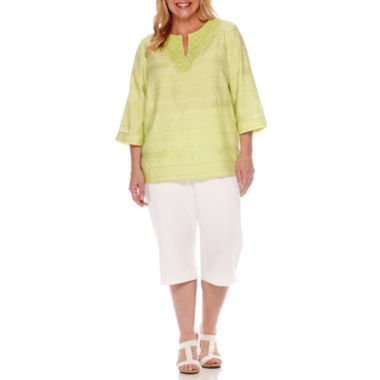 jcpenney.com | Alfred Dunner® Sao Paolo 3/4-Sleeve Embroidered Tunic or Pull-On Capris - Plus