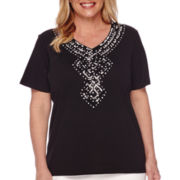 Alfred Dunner® Sao Paolo Short-Sleeve Tropical Yoke Tee