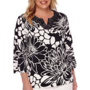 Alfred Dunner® Sao Paolo 3/4-Sleeve Exploded Floral Tee