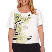 Alfred Dunner® Sao Paolo Short-Sleeve Floral Applique Tee - Plus