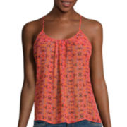 Arizona Crochet Back Camisole Shirt - Juniors