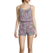 Arizona Elastic Waist Romper - Juniors