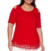 Alyx® Short-Sleeve Cold Shoulder Lace Trim Top - Plus