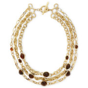 Liz Claiborne Gold-Tone Tortoiseshell Multi-Chain Necklace