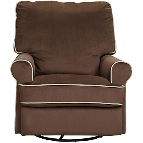 Birch Hill Swivel Glider Recliner - Stella Coffee w/ Doe Piping