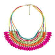 Decree® 4-Row Glass & Seed Bead Statement Necklace