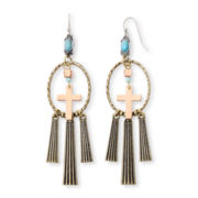 Arizona Tri-Tone Boho Cross Chandelier Earrings