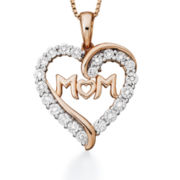 1/10 CT. T.W. Diamond Rose-Tone Sterling Silver Heart Mom Pendant Necklace