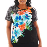 Alfred Dunner® St. Barth's Dot Floral Top - Plus