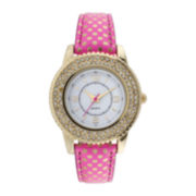 Womens Neon Dot Strap Stone Accent Watch