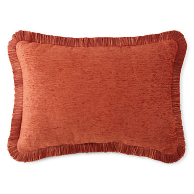 Jcpenney Red Decorative Pillows : JCPenney Home Chenille Fringe Oblong Decorative Pillow