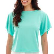 Liz Claiborne® Flowy Elbow-Sleeve Top