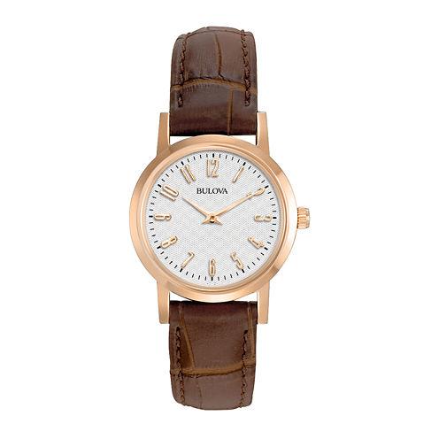 Bulova® Womens Rose-Tone Brown Leather Strap Watch 97L121
